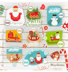 Christmas poster on white wooden background vector