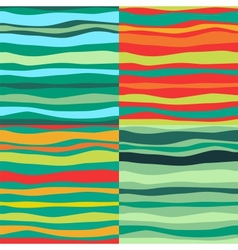 Color Waves Lines Seamless Background Set of 4 vector image vector image