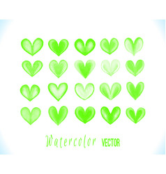 Colorful watercolor green hearts isola vector