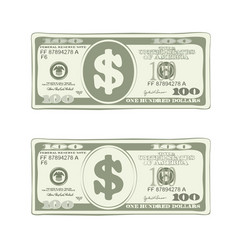 Design of one hundred dollar bill in green colors vector