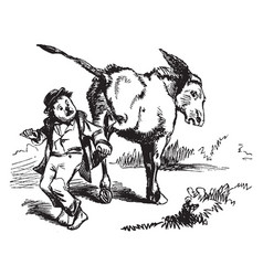 Donkey kicking child vintage vector