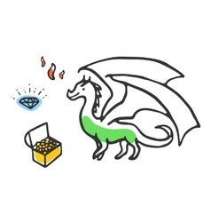 Dragon with treasures and fire vector
