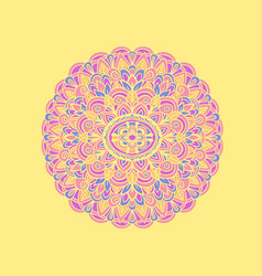 Ethnic pattern authentic mandala print on yellow vector