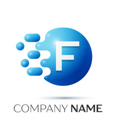 f letter splash logo blue dots and circle bubble vector image