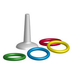 game throwing rings toys in 3d vector image