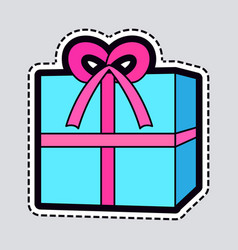 Gift box blue new year present with pink ribbon vector