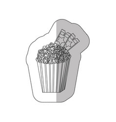 grayscale contour sticker of popcorn container vector image