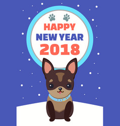 Happy new year dog with collar vector