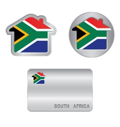 Home icon on the South Africa flag vector image vector image