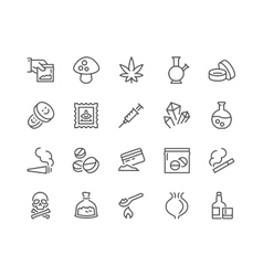 Line Drugs Icons vector image