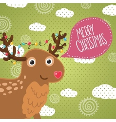 Merry Christmas greeting card with deer vector image