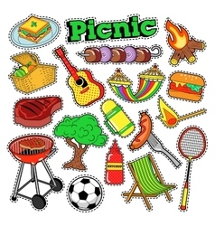 Picnic bbq doodle stickers badges patches vector