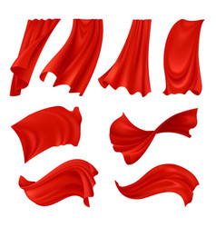 Realistic billowing red cloth vector