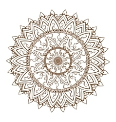 Round floral ornament pattern vector image