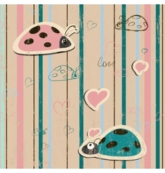 seamless wallpaper with ladybirds in love vector image vector image