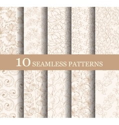 Set of 10 seamless flower patterns vector image