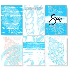 set of trendy stylish templates on sea theme vector image vector image