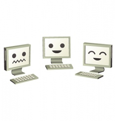 three cute computers computers vector image