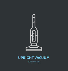 Upright vacuum cleaner flat line icon logo vector