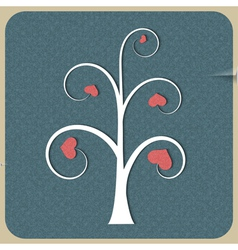White abstract tree with hearts vector image