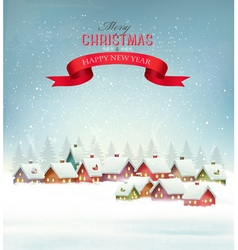 Winter christmas background with a snowy village vector