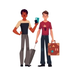 Two young men one with suitcases another holding vector