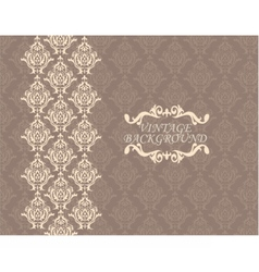 Vintage card with damask ornament vector