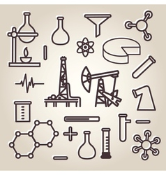 Black line minimalistic science icons set vector