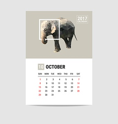 2017 october calendar elephant polygon vector