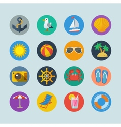 Summer sea holidays icons vector