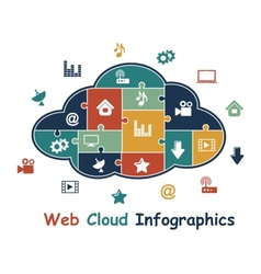 Web cloud with media infographics vector