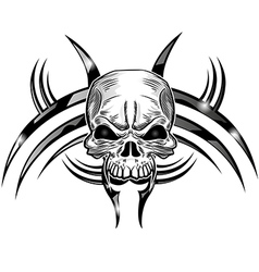 skull tattoo design isolate on white vector image