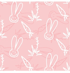 Seamless print pattern of rabbits carrots and vector