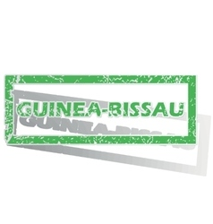 Green outlined guinea-bissau stamp vector