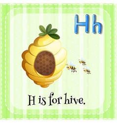 Flashcard letter h is for hive vector