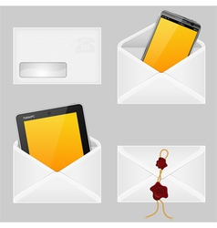 Envelopes with smart phone vector