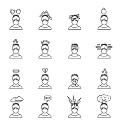 Stress icons set in thin line style vector
