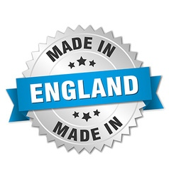 Made in england silver badge with blue ribbon vector