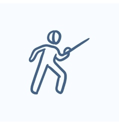 Fencing sketch icon vector