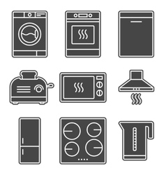 Kitchen appliance gray solid icons vector