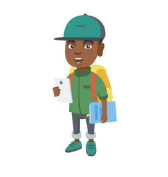 African schoolboy holding cellphone and textbook vector
