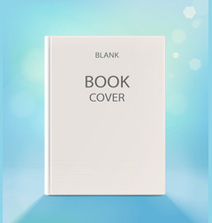 Blank vertical book cover on a light blue backdrop vector