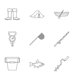 Catch fish icons set outline style vector