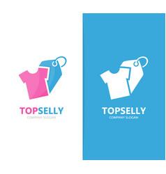 cloth and tag logo combination shirt vector image