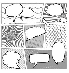 Comic book page template with halftone effect and vector