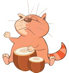 Cute Cat Drummer Cartoon vector image