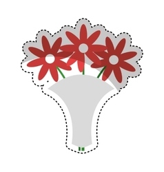 Cute flowers isolated icon vector