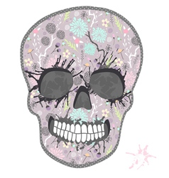 Cute skull with floral pattern vector image vector image