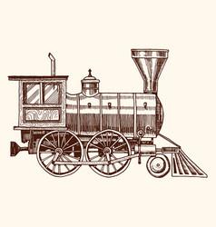 Engraved vintage hand drawn old locomotive or vector