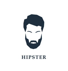 face of a hipster with a hair and beard vector image vector image